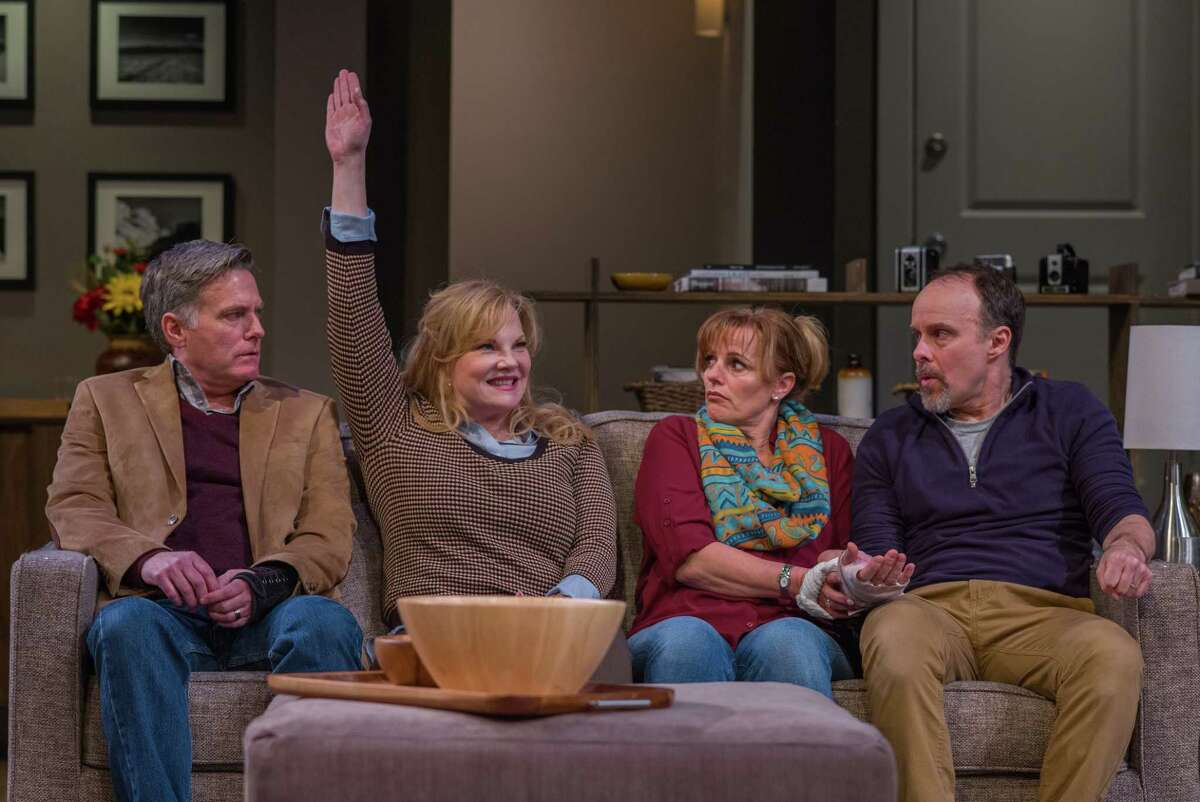 """From left, James Lloyd Reynolds, Elizabeth Meadows Rouse, Yvonne Perry and Oliver Wadsworth in the world premiere of """"Red Maple"""" at Capital repertory Theatre in Albany. (Photo by Richard Lovrich/The Rep)"""