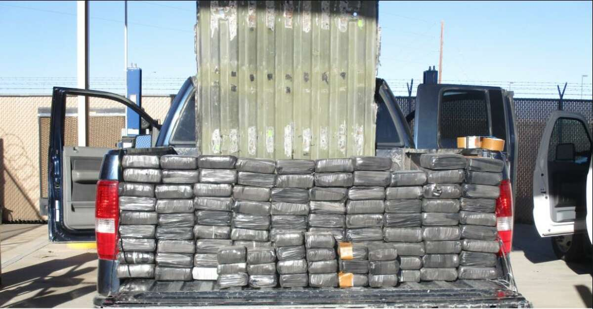 Border Patrol agents seized 216 pounds of marijuana concealed in a false bed of a pickup, according to a U.S. Customs and Border Protection press release.