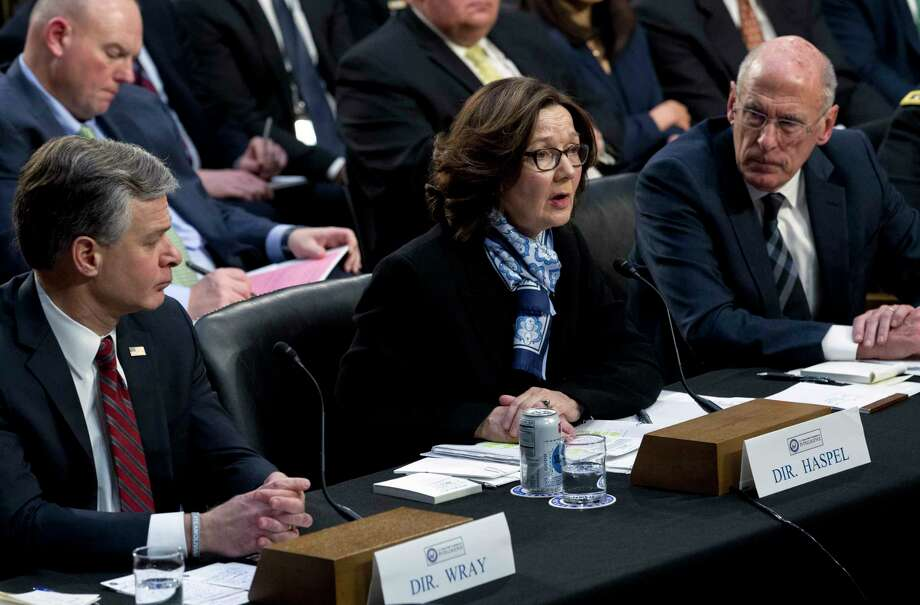 CIA Director Gina Haspel accompanied by FBI Director Christopher Wray and Director of National Intelligence Daniel Coats testifies before the Senate Intelligence Committee on Capitol Hill in Washington Tuesday, Jan. 29, 2019. Photo: Jose Luis Magana, AP / Copyright 2018 The Associated Press. All rights reserved