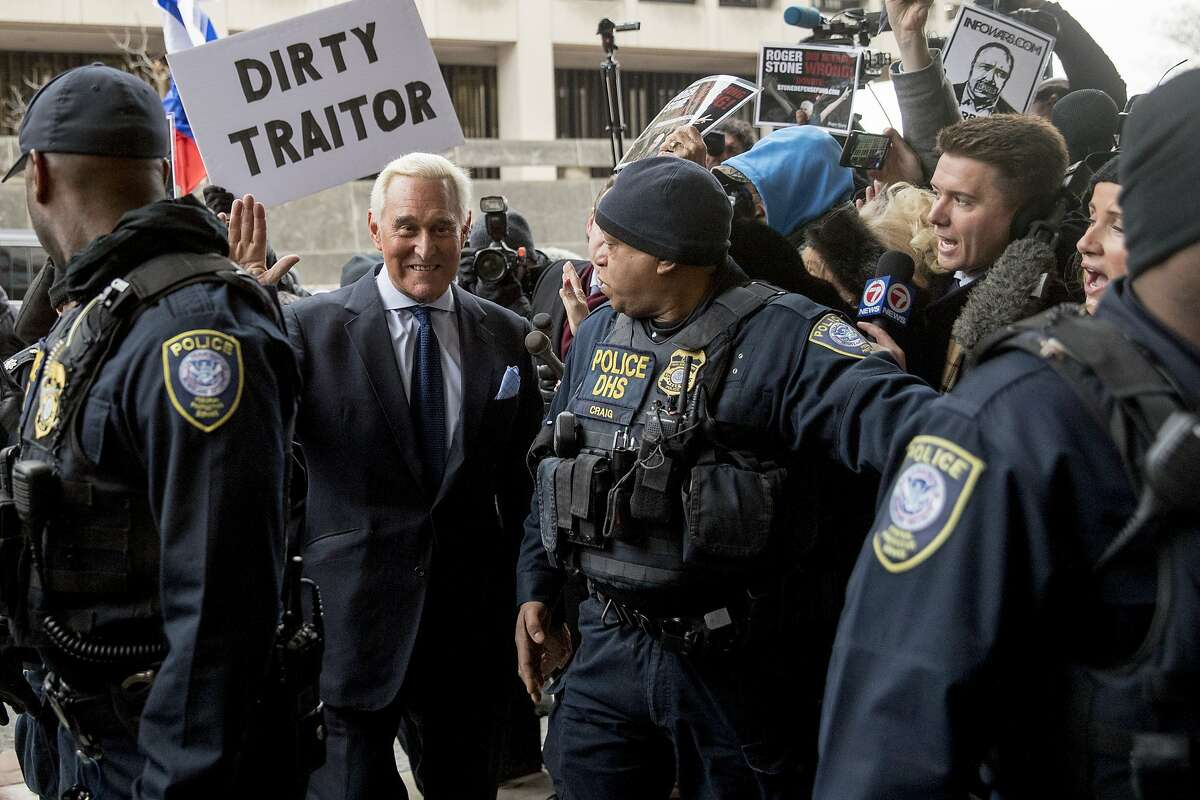 Former campaign adviser for President Donald Trump, Roger Stone arrives at Federal Court, Tuesday, Jan. 29, 2019, in Washington. Stone was arrested in the special counsel's Russia investigation and was charged with lying to Congress and obstructing the probe. (AP Photo/Andrew Harnik)