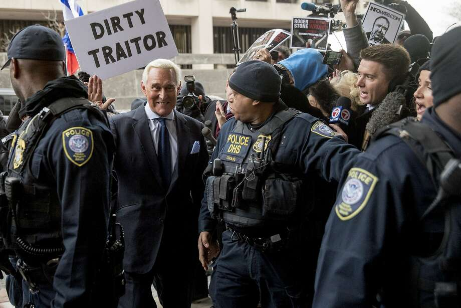Roger Stone, seen her arriving last year at a Washington courtroom, was convicted of lying to Congress, witness tampering and obstructing the House investigation into the 2016 election. Photo: Andrew Harnik / Associated Press 2019