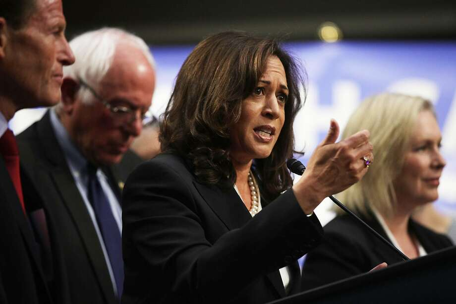CLICK THROUGH THE SLIDESHOW TO SEE UPDATED 2020 BETTING ODDS Photo: Sen. Kamala Harris, D-Calif., speaks on health care as Sen. Bernie Sanders, I-Vt., listens during an event Sept. 13, 2017 on Capitol Hill in Washington, D.C.  Photo: Alex Wong, Getty Images