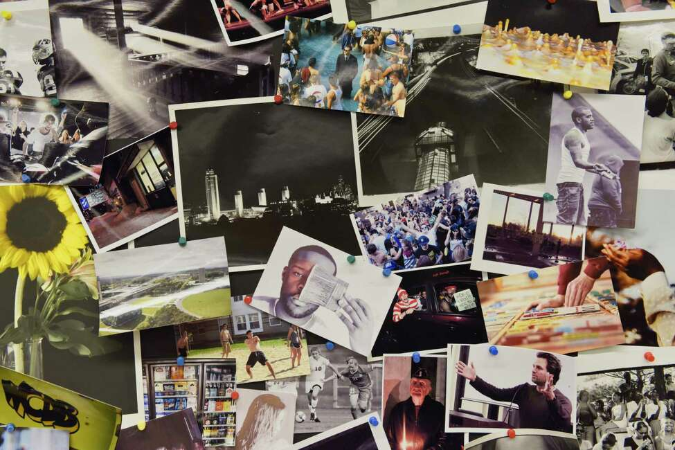 A view of photos taken by past members of the University Photo Service student organization on Tuesday, Jan. 29, 2019, in Albany, N.Y. The University at Albany administration wants to move the student organization out of their photo studio and photo darkroom location and into a much smaller space. (Paul Buckowski/Times Union)