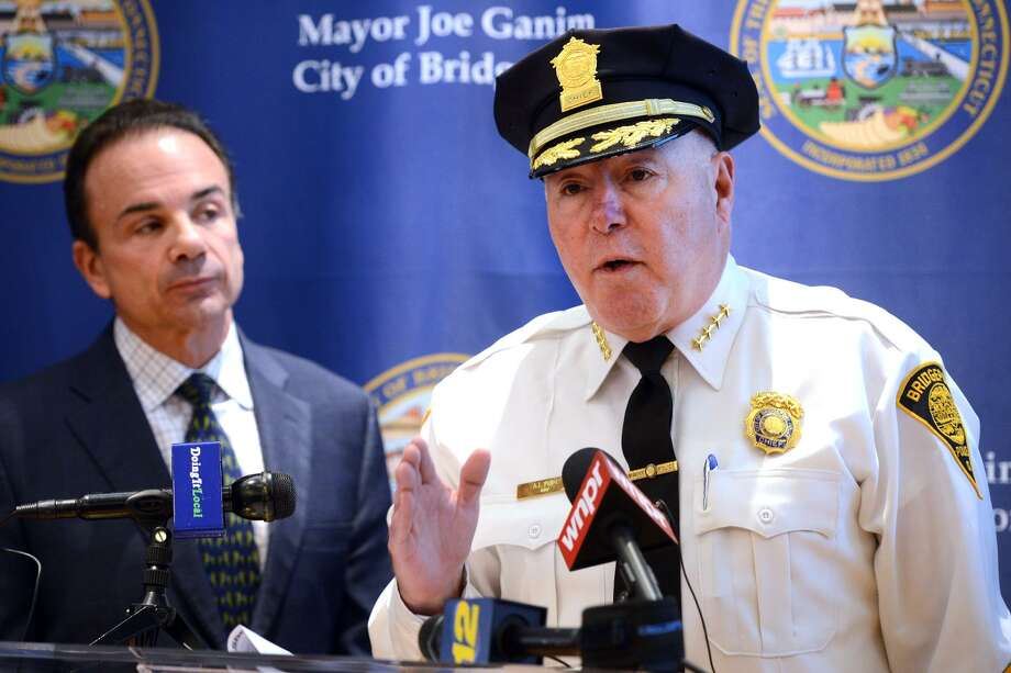 Bridgeport Police Chief Armando Perez and Mayor Joe Ganim in a photo from December 2018. Photo: Ned Gerard / Hearst Connecticut Media / Connecticut Post