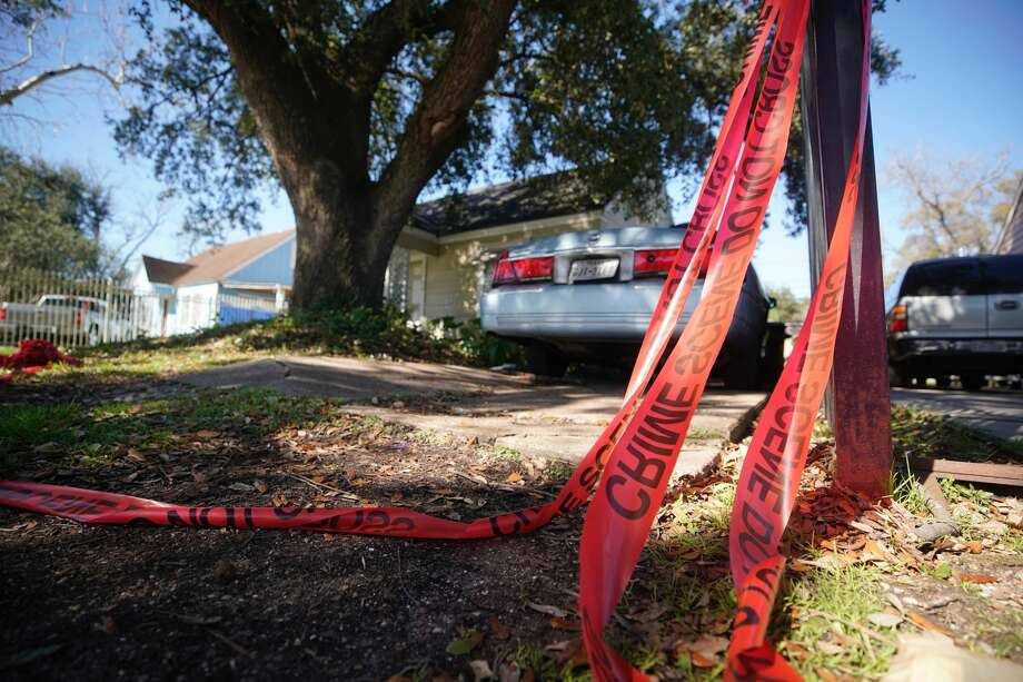 The home at 7815 Harding is shown Tuesday, Jan. 29, 2019 where five Houston Police Officers were shot in a gun battle while serving a search warrant on Monday. Police identified the two suspects who died as Rhogena Nicholas, 58, and Dennis Tuttle, 59. Photo: Melissa Phillip/Houston Chronicle