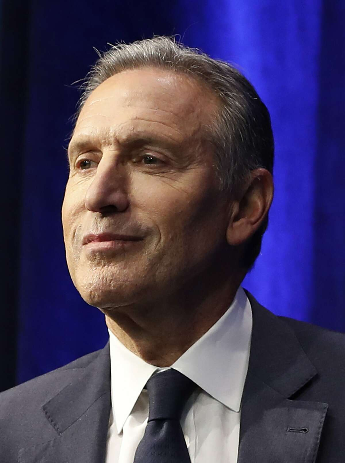 Former Starbucks CEO and Chairman Howard Schultz during looks out at the audience during the kickoff event for his book promotion tour, Monday, Jan. 28, 2019, in New York. Democrats across the political spectrum lashed out at the billionaire businessman on Monday after he teased the prospect of an independent 2020 bid, a move Democrats fear would split their vote and all but ensure President Donald Trump's re-election. (AP Photo/Kathy Willens)