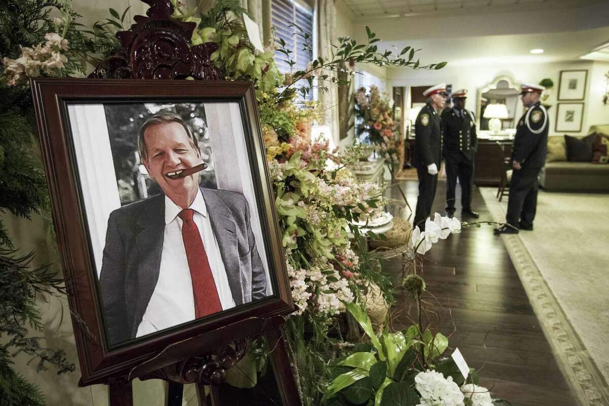 A portrait of former Houston mayor Robert C. Lanier is displayed in the foyer at George H. Lewis & Sons Funeral Home before Lanier's funeral services on Dec. 23, 2014.