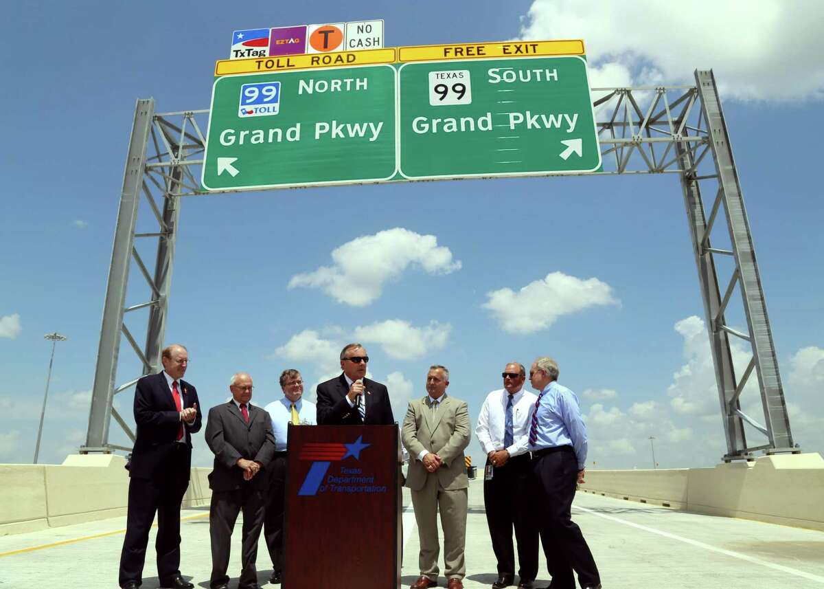 City of Katy Mayor Pro Tem Chuck Brawner delivers remarks at the grand opening of the Interstate 10 eastbound connector to the Grand Parkway in December 2013.