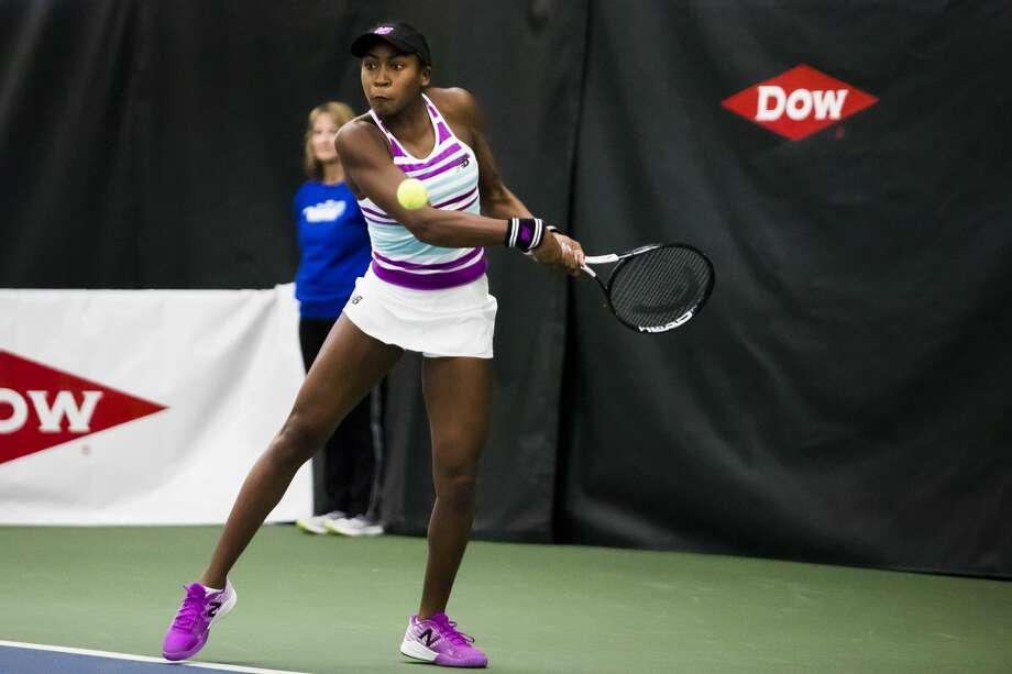 Cori Gauff of Florida, 14, returns the ball during a match against Ashley Kratzer of California, 19, during the Dow Tennis Classic on Tuesday, Jan. 29, 2019 at the Greater Midland Tennis Center. (Katy Kildee/kkildee@mdn.net) Photo: (Katy Kildee/kkildee@mdn.net)