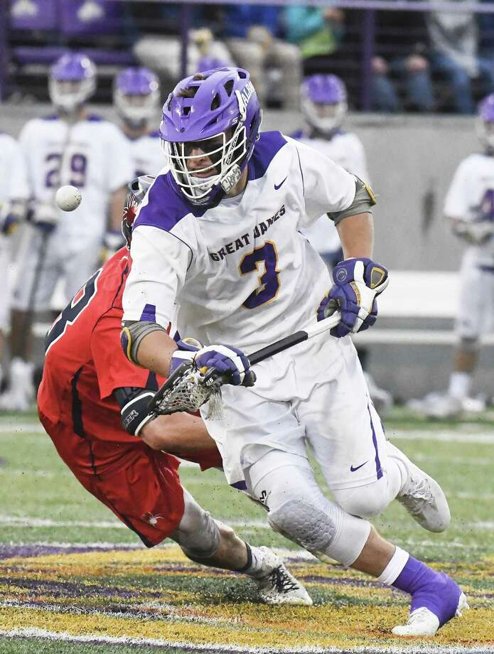T.D. Ierlan was an All-American faceoff specialist at Albany last spring, but transferred to Yale in the offseason. Photo: Hans Pennink / Times Union / Hans Pennink