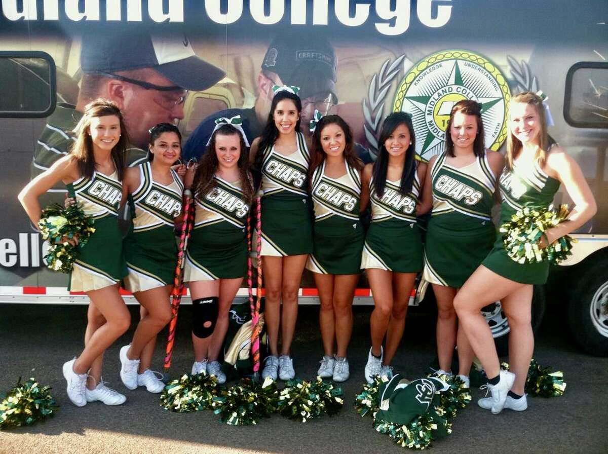 Janet Moreno Farmer, fourth from left, was a cheerleader while she attended Midland College