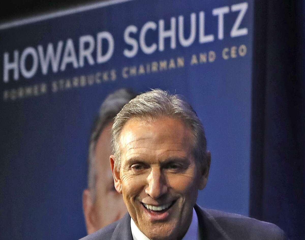 Former Starbucks CEO and Chairman Howard Schultz smiles as he walks on stage during the kickoff of his book promotion tour, Monday, Jan. 28, 2019, in New York. Democrats across the political spectrum lashed out at the billionaire businessman on Monday after he teased the prospect of an independent 2020 bid, a move Democrats fear would split their vote and all but ensure President Donald Trump's re-election.