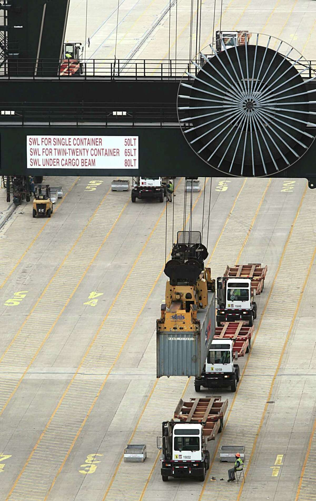 A crane at the Port of Houston Authority, Bayport Container Terminal unloads a container from the SEALAND LOS ANGELES June 22, 2016, in Seabrook. ( James Nielsen / Houston Chronicle )
