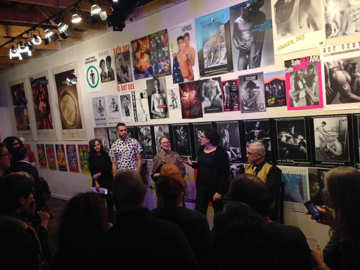 (R-L) Buzz Bense, Marlene Hoeber, Carol Queen, Alex Fiahlo and Dorian Katz present at the reception for Safe Sex Bang: The Buzz Bense Safer Sex Poster Collection.