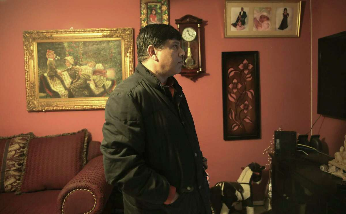 Ranjan Bhattacharjee talks about the damage to his home 17 months after Harvey on Sunday, Jan. 28, 2018 in Houston. Longterm, multi-billion-dollar programs will be rolling out soon and Bhattacharjee will be applying for that aid.