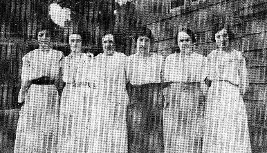 "A photograph from New Milford High School's 1920 yearbook shows members of the school faculty, from left to right, Miss Clark, Miss St. Claire, Miss Daggett, Miss Ferriss, Miss Barton and Miss Searles. The high school during those years was in the building now known as the Richmond Citizen Center along Main Street, which now is home to the New Milford Senior Center. If you have a ""Way Back When"" photograph you'd like to share, contact Deborah Rose at drose@newstimes.com or call 860-355-7324. Photo: Contributed Photo / Contributed Photo / The News-Times Contributed"