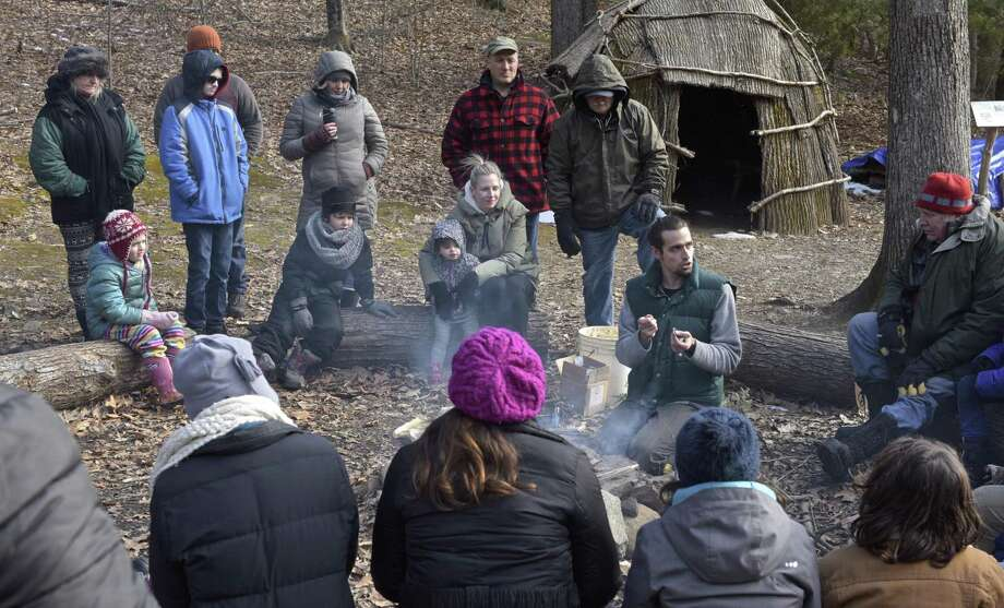 Above, educator Griffin Kalin presented a program on how Native Americans prepared for winter, including how to find shelter, make food and stay warm at the Institute for American Indian Studies on Saturday afternoon in Washington. Photo: H John Voorhees III / Hearst Connecticut Media / The News-Times