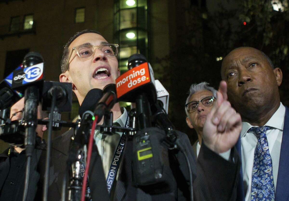 Houston Police Officer Union president Joe Gamaldi addresses the media outside of the emergency department at Memorial Hermann Hospital in the Texas Medical Center, Monday, Jan. 28, 2019. Four officers were shot Monday afternoon, two of whom are described as critical but stable, while narcotics officers were attempting to serve a search warrant.