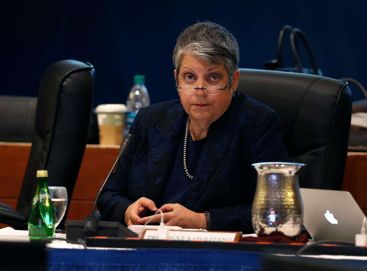 University of California President Janet Napolitano listens to a speaker addressing the UC Board of Regents at the UCSF Mission Bay campus in San Francisco, Calif. on Thursday, Nov. 16, 2017.
