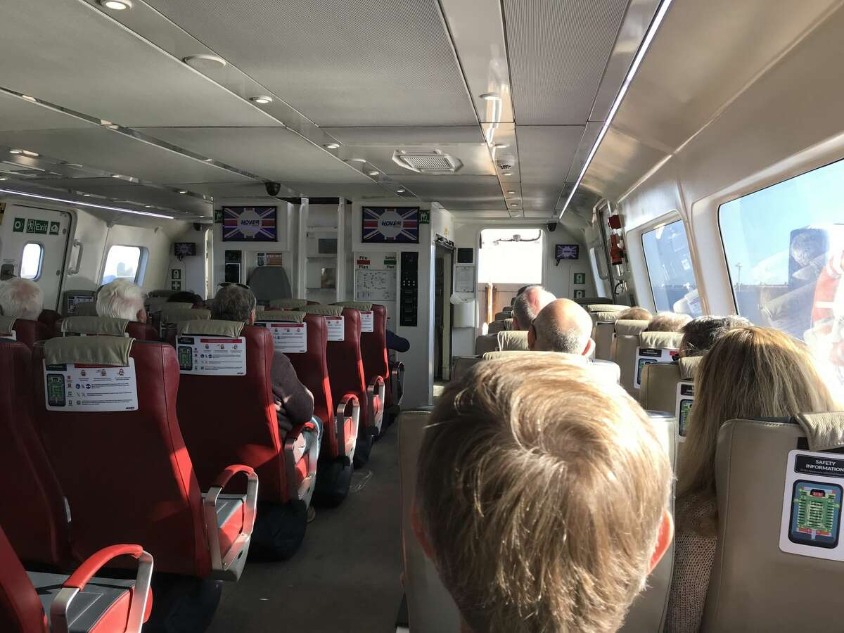 On board the hovercraft ferry in Portsmouth, England. A delegation of Bay Area leaders recently traveled to England to see how the vessels might be able to work in the San Francisco BAy.