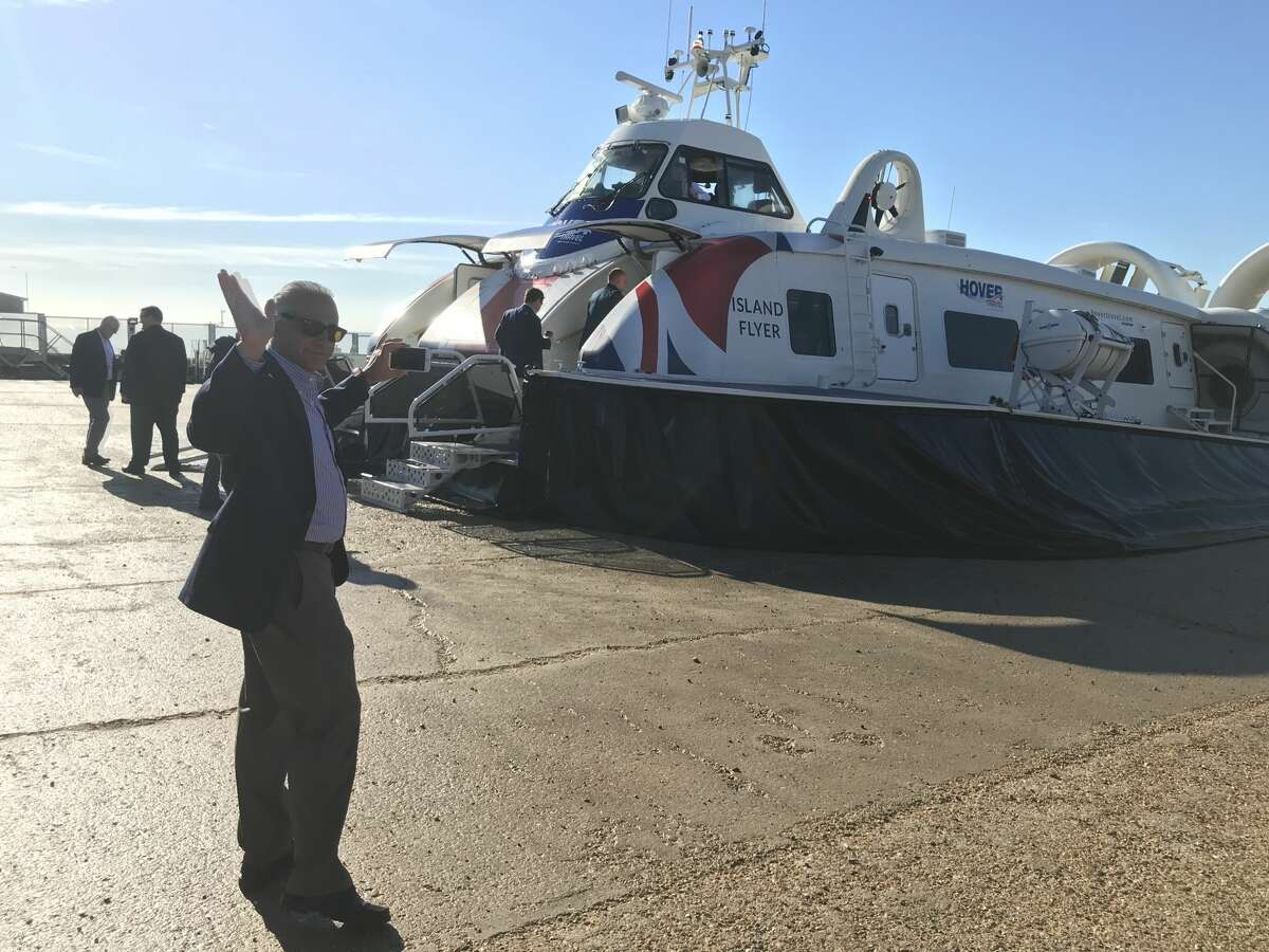 Mayor of Foster City Sam Hindi prepares to board a hovercraft ferry in Portsmouth, England. A delegation of Bay Area leaders recently traveled to England to see how the vessels might be able to work in the San Francisco Bay.