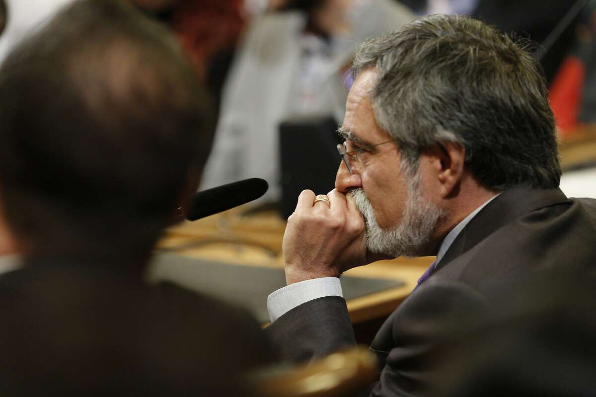 District 3 supervisor Aaron Peskin listens in during public comment before a vote for president of the Board of Supervisors at City Hall on Tuesday, Jan. 8, 2019, in San Francisco, Calif.