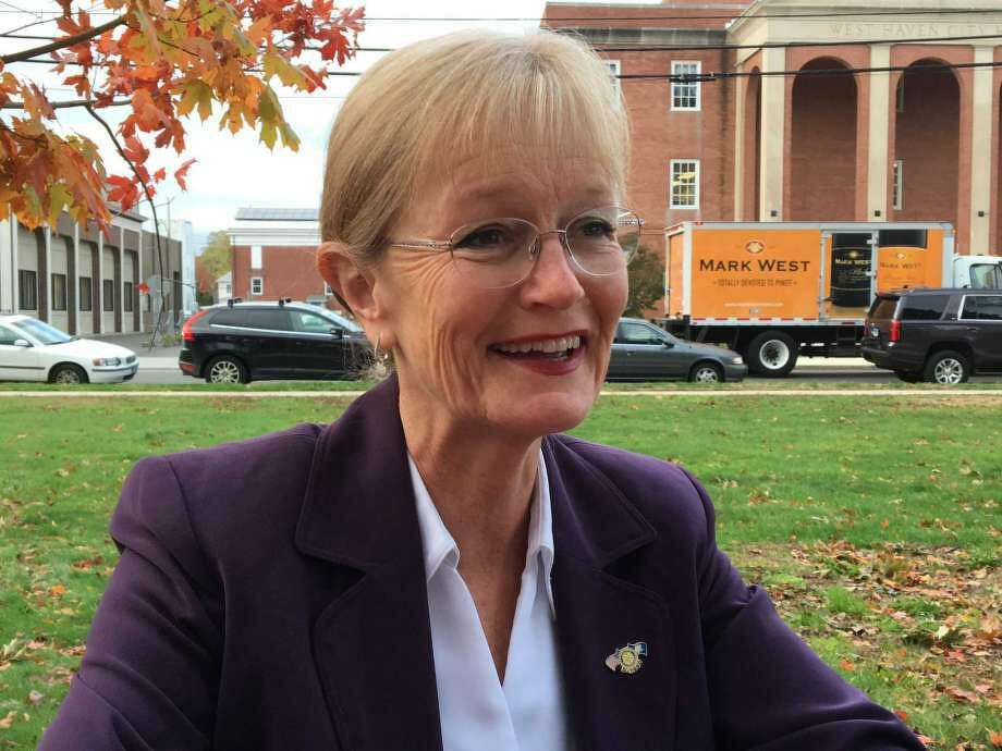 West Haven Mayor Nancy Rossi in front of West Haven City Hall. Photo: File Photo