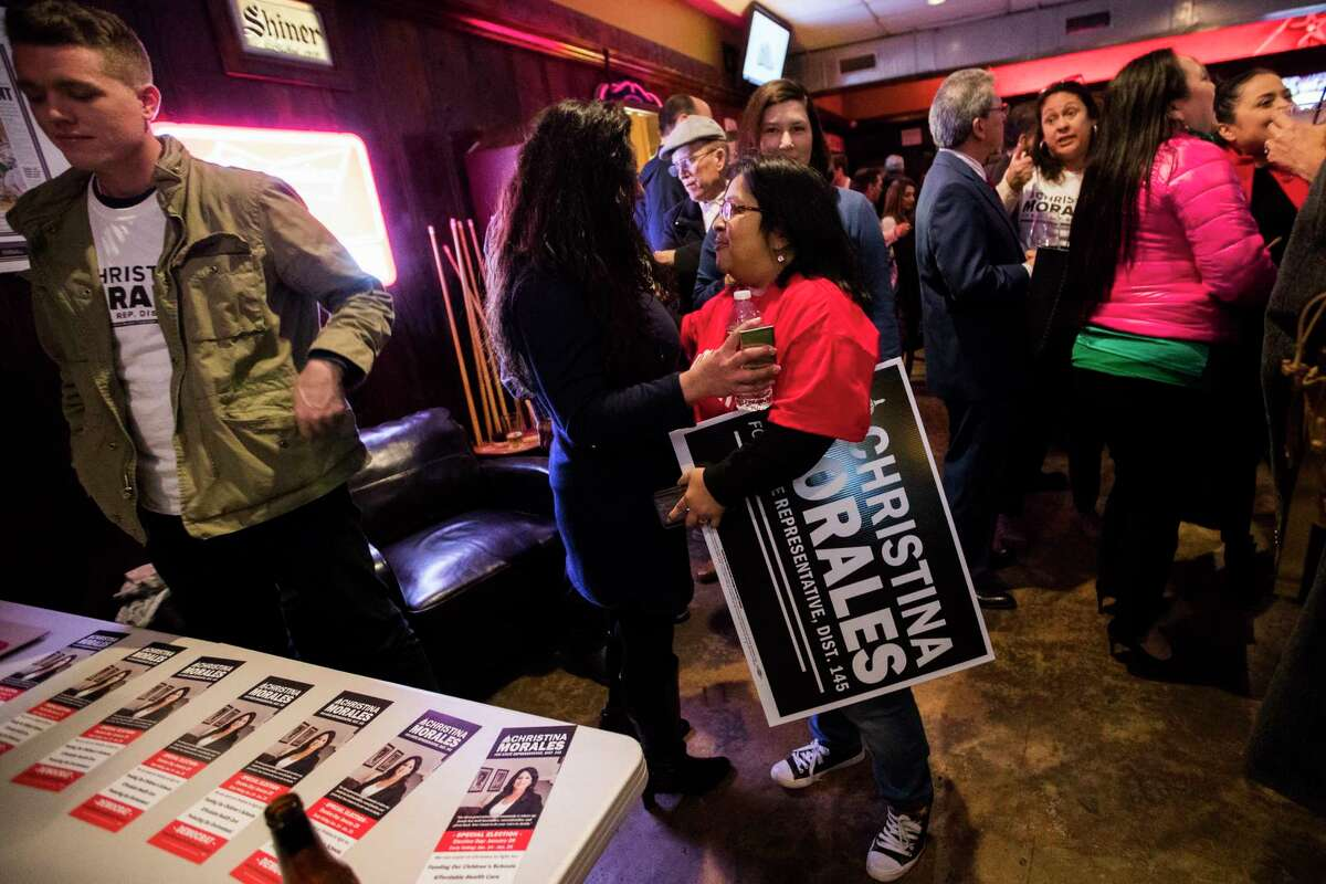 Christina Morales' supporters arrive to her watch party, Tuesday, Jan. 29, 2019, in Houston. Morales is a candidate for Texas State Rep. District 145.
