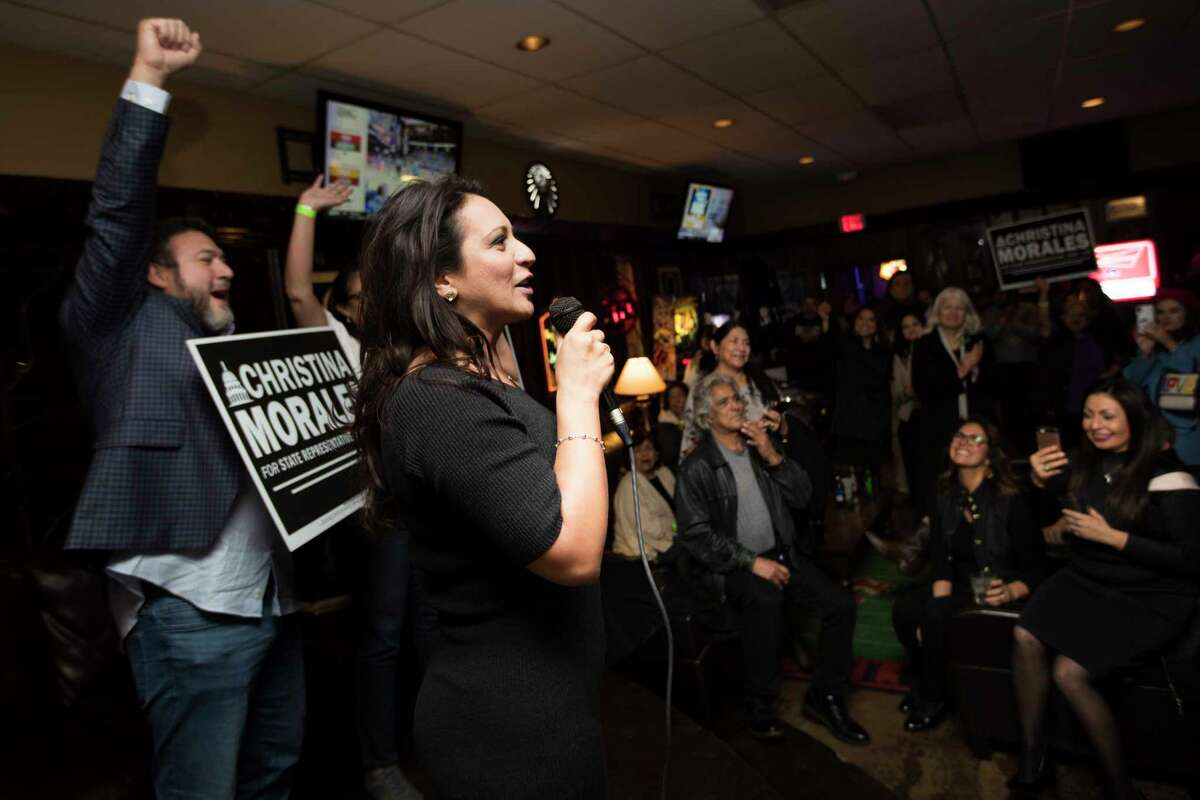 Christina Morales, candidate for State Rep. District 145 takes the stage on Tuesday night at a watch party to greet her supporters, Jan. 29, 2019, in Houston.