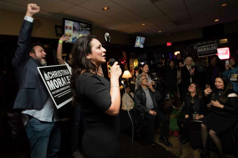 Christina Morales, candidate for State Rep. District 145 takes the stage on Tuesday night at a watch party to greet her supporters, Jan. 29, 2019, in Houston. Photo: Marie D. De Jesús, Staff Photographer / © 2019 Houston Chronicle