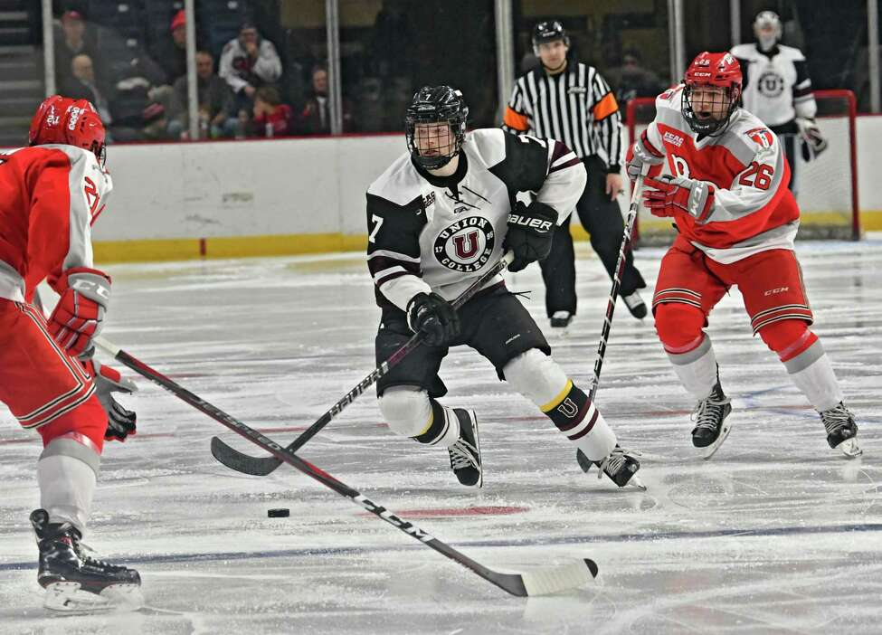 Union's Brandon Estes, #7, takes the puck down the ice during the men's Mayor's Cup game against Rensselaer Polytechnic Institute at the Times Union Center on Tuesday, Jan. 29, 2019 in Albany, N.Y. (Lori Van Buren/Times Union)