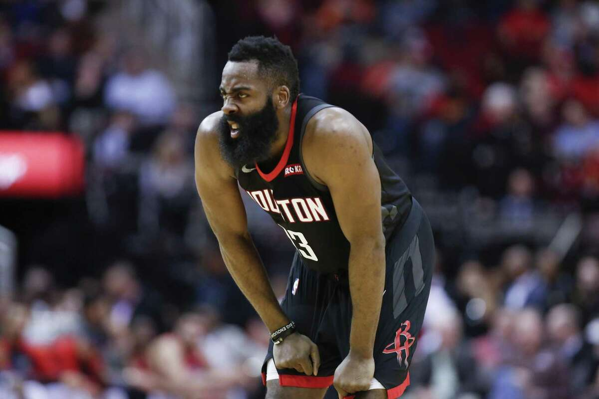 Houston Rockets guard James Harden (13) grimaces during the 1st half of an NBA basketball game at Toyota Center on Tuesday, Jan. 29, 2019, in Houston.