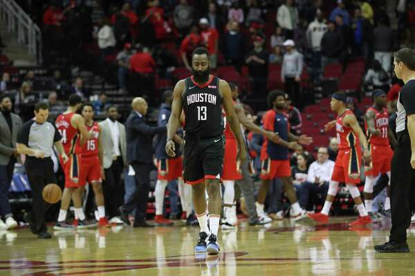 b98dedbb1 2of25Houston Rockets guard James Harden (13) leaves the court after losing  to the New Orleans Pelicans at Toyota Center on Tuesday
