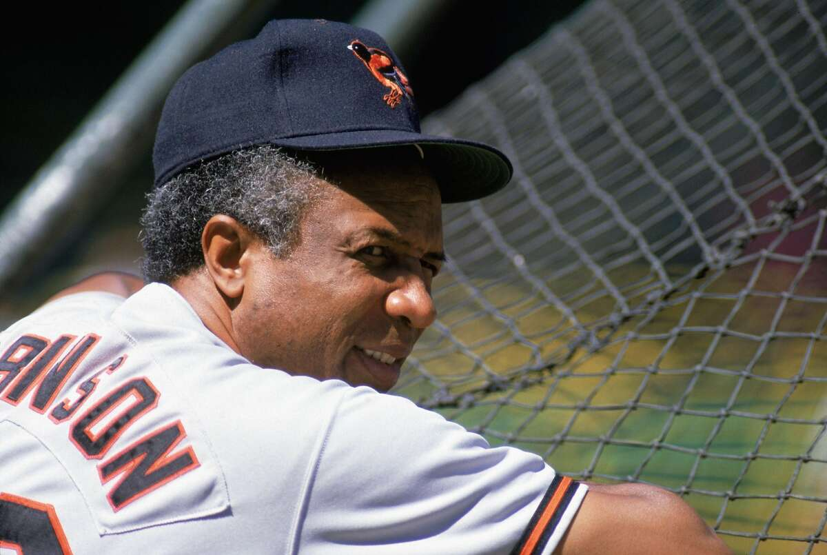 Manager Frank Robinson (the first black manager of MLB) of the Baltimore Orioles looks on during batting practice in the 1989 season. (Jonathan Daniel/Getty Images/TNS)