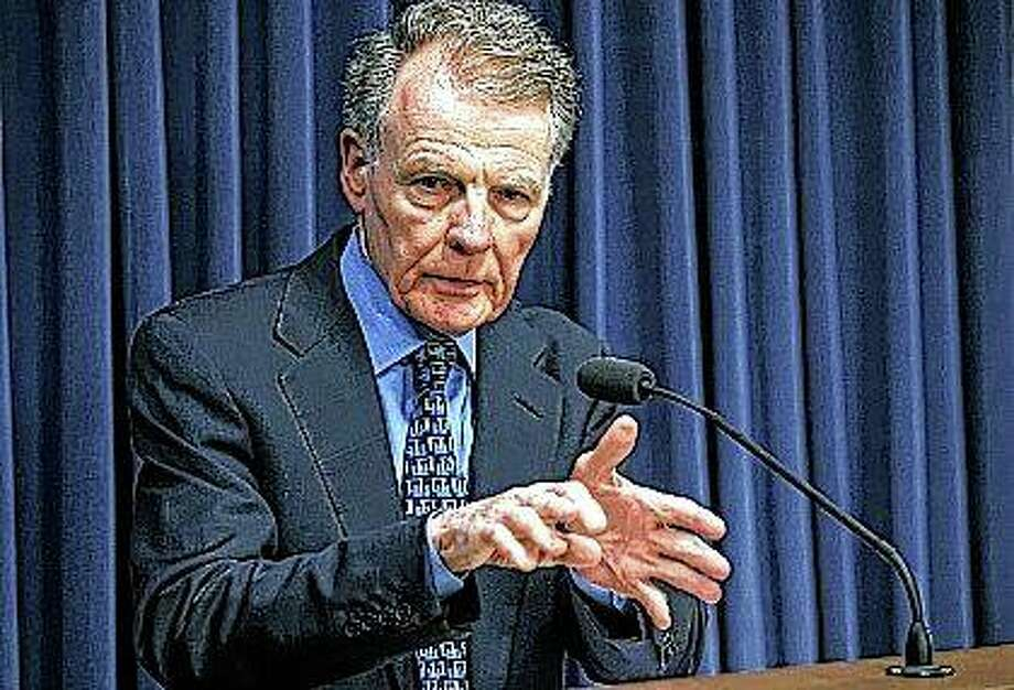 Illinois Speaker of the House Michael Madigan, D-Chicago, speaks in July 2017 at a news conference at the state Capitol in Springfield. A published report citing a federal court affidavit says the FBI secretly recorded Illinois' powerful House speaker in 2014 discussing a hotel development project. Tuesday's Chicago Sun-Times' report on Madigan suggests a federal investigation may cast a wider net than first thought after it led to a charge earlier this month against Chicago alderman Ed Burke. A Madigan lawyer denied any wrongdoing and said they have no indication Madigan is under investigation. Photo: Justin Fowler | The State Journal-Register Via AP