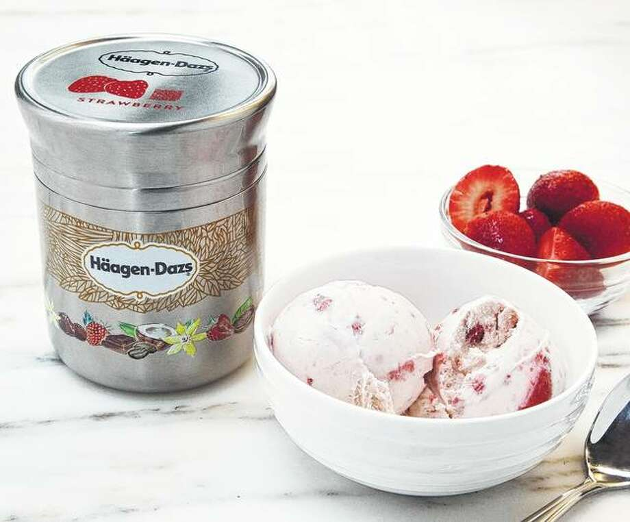 Nestle's stainless steel Häagan-Dazs ice cream container is designed for use with Loop. The new shopping platform announced at the World Economic Forum aims to change the way people buy many products, from food to personal-care and home products. Photo: Chris Crane | TerraCycle Via AP
