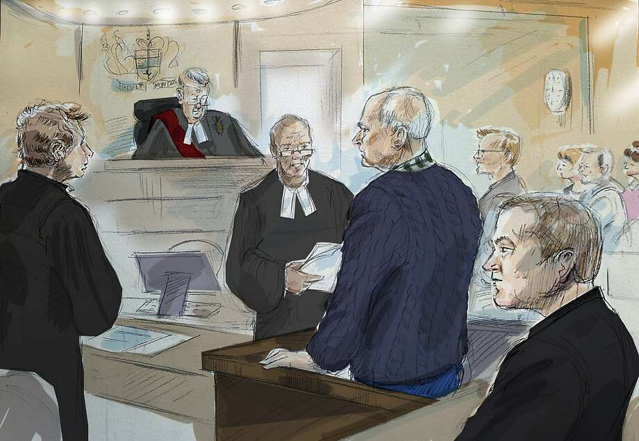 In this courtroom sketch from left to right, defense lawyer James Miglin, Justice John McMahon, court registrar, Bruce McArthur, Crown Attorney Michael Cantlon, Detective Hank Idsinga, and friends and family of victims, back right, appear in court in Toronto on Tuesday, Jan. 29, 2019. McArthur, a former landscaper accused of sexually assaulting, killing and dismembering men he met in Toronto's Gay Village district over seven years, pleaded guilty on Tuesday to eight counts of first-degree murder.  Photo: Alexandra Newbould, Associated Press