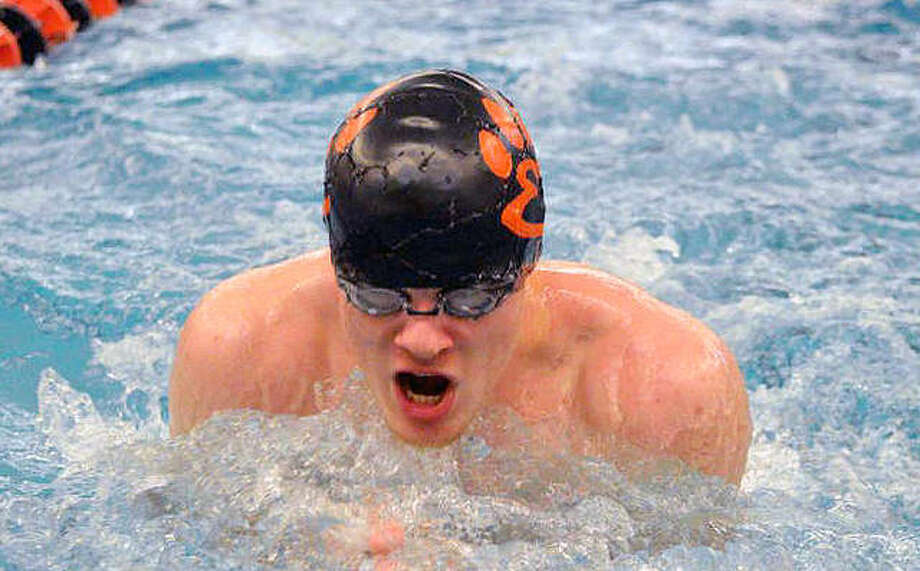 Edwardsville junior McLain Oertle competes in the 200-yard medley relay during the Iron Invite on Jan. 5 at Normal Community High School. Photo: Scott Marion | For The Telegraph