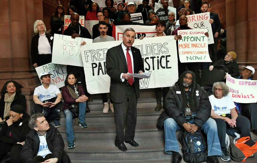 Assemblyman David Weprin, D-Richmond Hill, stands with advocates urging parole reform legislation at the state Capitol on Tuesday, Jan. 29, 2019, in Albany, N.Y.