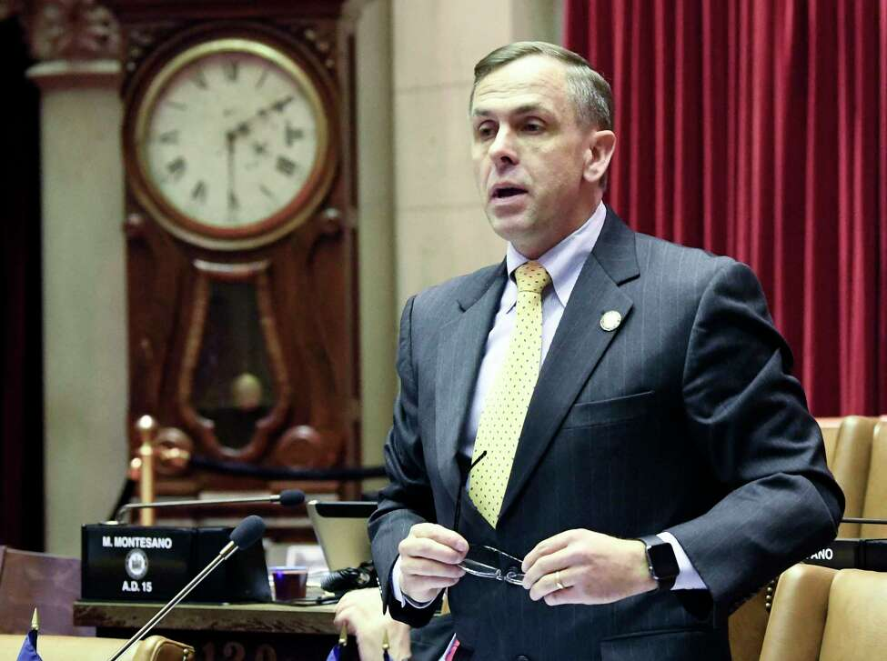 Assemblyman Robert Smullen, R-Herkimer, debates new legislation reforms to protect New Yorkers from gun violence in the Assembly Chamber at the state Capitol on Tuesday, Jan. 29, 2019, in Albany, N.Y.