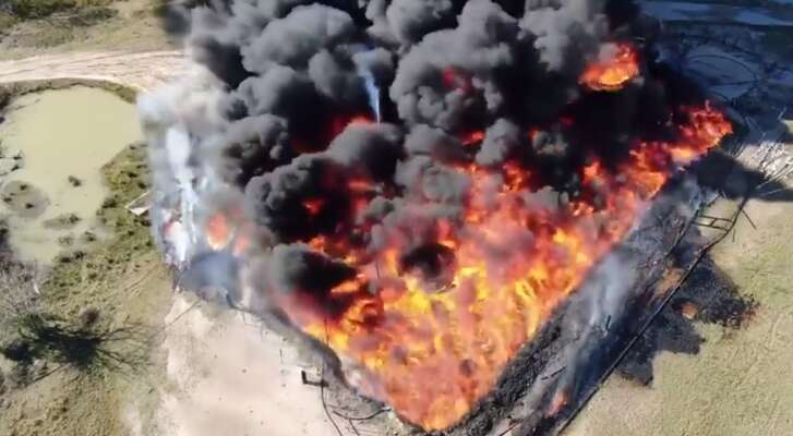 A man whose family owns a small independent oil company said they faced a devastating loss when their small cluster of oil wells burst into flames on Tuesday.