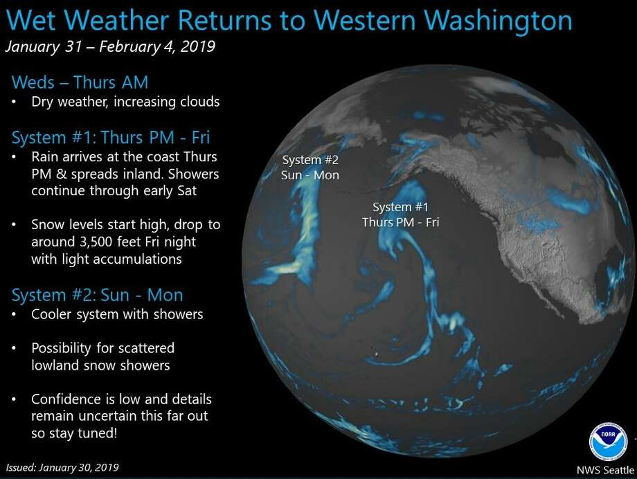 "Two systems will bring rain to Washington starting Thursday -- with a chance for lowland snow early next week. ""Confidence is low,"" though, NWS tweeted. Photo: Courtesy NWS"