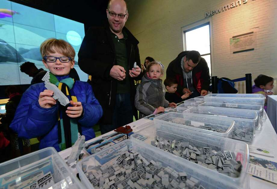 "Visitors to The Maritime Aquarium including Oscar Egmond, 7, and his dad Lennart Egmond of Weston help Play-Well TEKnologies engineers create an enormous aquarium-themed scene using Lego building blocks during ""LEGO Weekend"" Saturday, January 26, 2019, at the aquarium in Norwalk, Conn. Throughout the weekend, The LEGO experts from Play-Well TEKnologies engineer a giant project made entirely out of LEGO blocks in Newman's Own Hall. Visitors build small LEGO marine creature from a diagram or create pieces of their choosing that will be part of the finished display. The event continues Sunday. Photo: Erik Trautmann / Hearst Connecticut Media / Norwalk Hour"