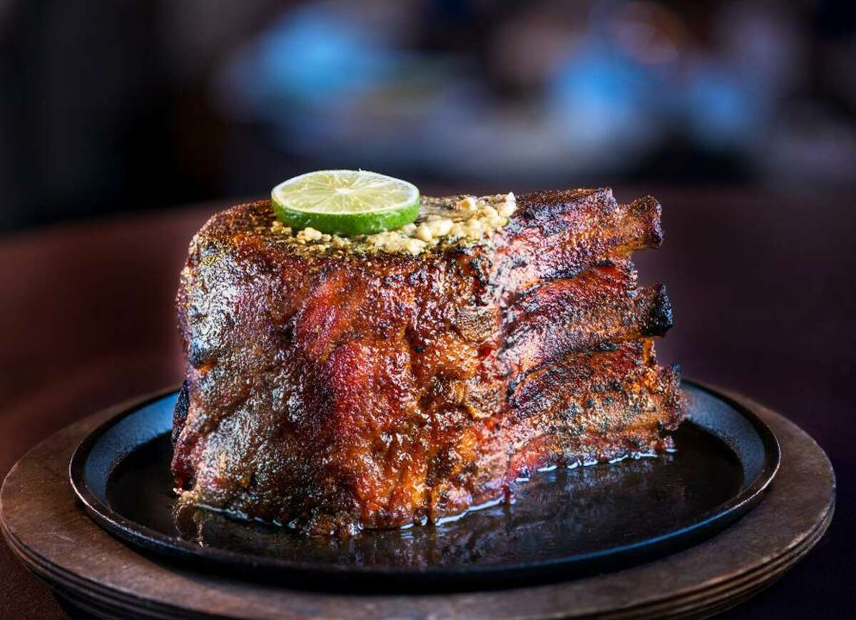 """San Antonio's Perry's location, at 15900 La Cantera Parkway, is offering a three-course Sunday dinner for $39 a person. The prix fixe menu includes a soup or salad, the """"legendary"""" Perry's pork chop as an entree, and a dessert trio made up of vanilla bean crème brûlée, chocolate crunch, and seasonal cheesecake. No room for dessert? Perry's gives customers the option of substituting dessert for a small side of either whipped potatoes, roasted cream corn or grilled asparagus."""