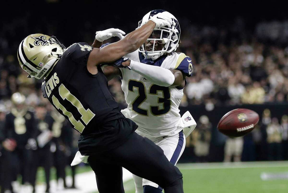 """FILE - In this Jan. 20, 2019, file photo, Los Angeles Rams' Nickell Robey-Coleman breaks up a pass intended for New Orleans Saints' Tommylee Lewis during the second half of the NFL football NFC championship game in New Orleans. Robey-Coleman says he received """"one or two"""" death threats from frustrated New Orleans Saints fans on social media after the NFC championship game."""