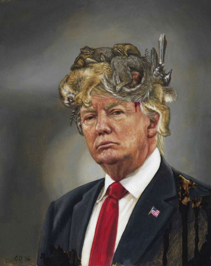 "Cara DeAngelis' ""Donald Trump with a Crown of Roadkill"" was completed in 2016 Photo: Contributed Photo"
