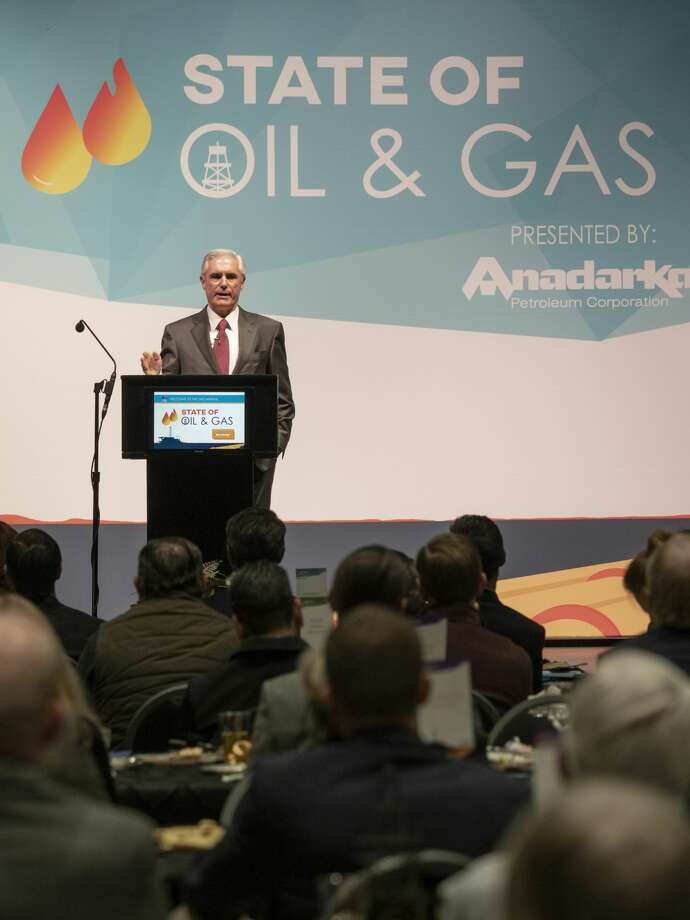 Tim Leach, Chairman and CEO, Concho Resources, speaks 01/30/19 at the Midland Chamber State of Oil & Gas luncheon. Tim Fischer/Reporter-Telegram Photo: Tim Fischer/Midland Reporter-Telegram