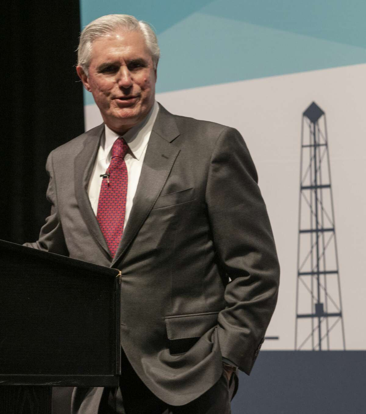 Tim Leach, Chairman and CEO, Concho Resources, speaks 01/30/19 at the Midland Chamber State of Oil & Gas luncheon. Tim Fischer/Reporter-Telegram