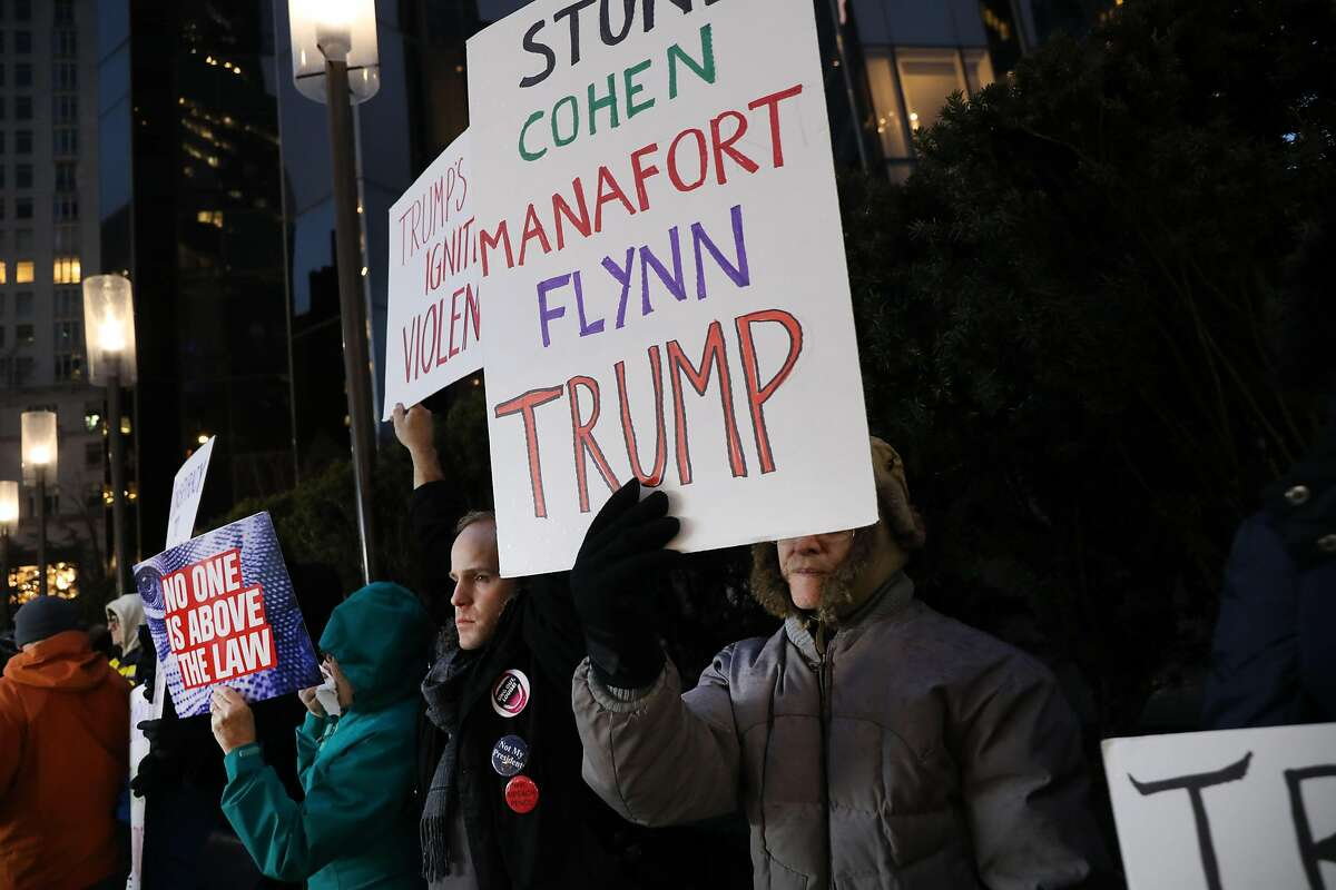 NEW YORK, NEW YORK - JANUARY 29: Protesters calling for the impeachment of Donald Trump demonstrate in front of the Trump International Hotel on January 29, 2019 in New York City. Acting attorney general Matthew Whitaker has stated that the special counsel Robert S. Mueller IIIs investigation on Donald Trump and Russian election interference is close to wrapping up. (Photo by Spencer Platt/Getty Images)