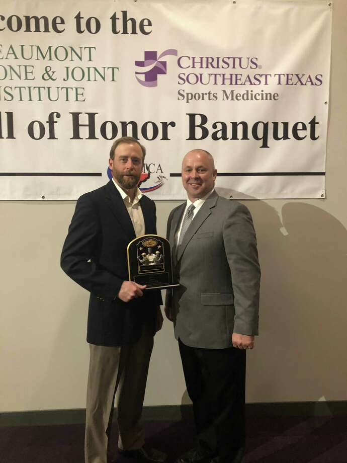 Hargrave's Chris McDermand (left) was honored as the boys soccer Coach of the Year at the Southeast Texas Coaches Association's banquet on Jan. 26 in Beaumont. Photo: Mike McEachern, Hargrave High School